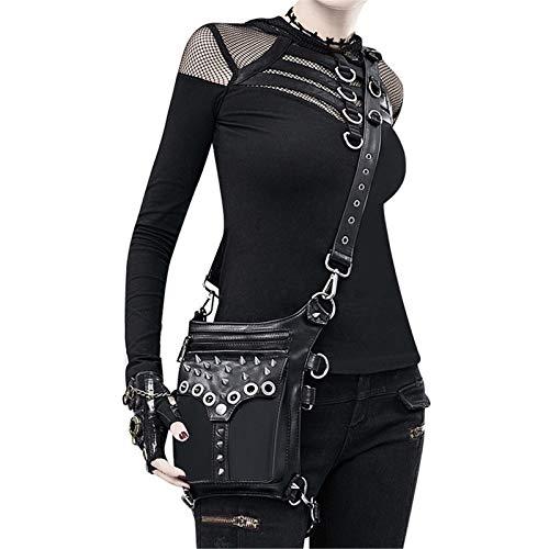 DXENXPG Riñonera Punk Señoras Steampunk Retro Locomotora Bolsa PU Casual Bolsa de Cintura al Aire Libre Montar un Hombro Messenger Bag Bolsos Cruzados (Color : Black, Size : One Size)