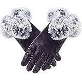 Guantes de Cuero Negro sólido para Mujer Otoño Invierno Lady Mitones cálidos a26-One Size