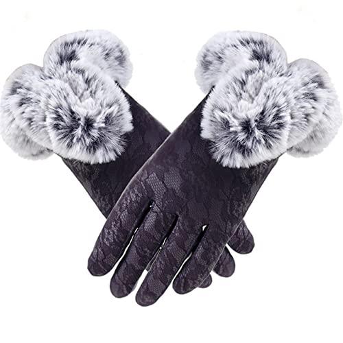 Guantes de Cuero Negro sólido para Mujer Otoño Invierno Lady Mitones cálidos a27-One Size