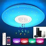 RGB Lámpara de Techo Bluetooth, Inteligente WIFI 32W Moderna Luz de Techo de Música con Control Remoto o de APP, Regulable Lámpara de Cambio de Color para Cocina Pasillo Decorar