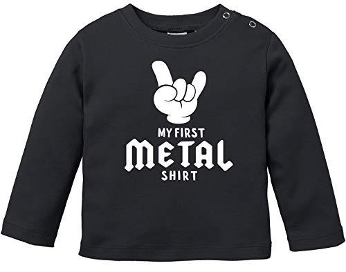 MoonWorks® Baby Langarmshirt Babyshirt My First Metal Shirt Hardrock Heavy Metal Jungen Mädchen Shirt schwarz 68/74 (4-9 Monate)