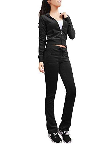 NE PEOPLE Womens Casual Basic Velour Zip Up Hoodie Sweatsuit Tracksuit Set S-3XL Black