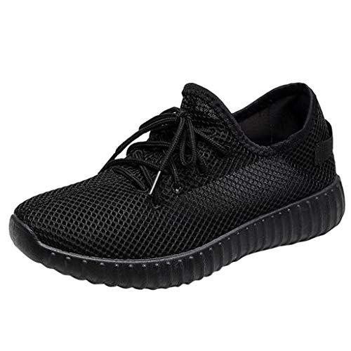 Deloito Damen Sneaker Leichte Modische Turnschuhe Fliegendes Weben Socken Sport Schuhe Schüler Freizeit Atmungsaktiv Laufschuhe (40 EU, Schwarz-08)