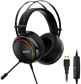 Tronsmart Glary Gaming Headset with 7.1 Virtual Sound with Colorful Led Lights - Black