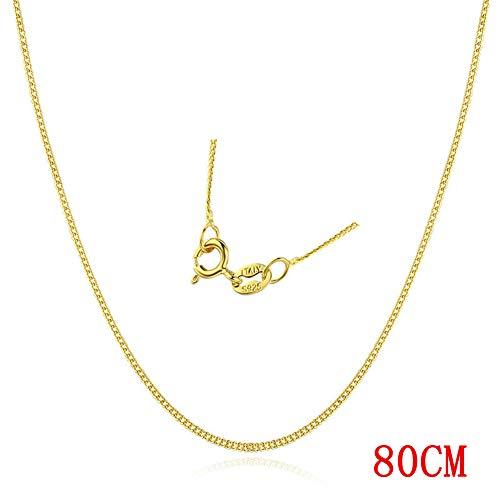 AMTBBK Sterling zilveren ketting ketting, stoeprand ketting 35Cm-80Cm dun goud Choker kettingen DIY vrouwen meisjes sieraden cadeau voor moeder, vriendin