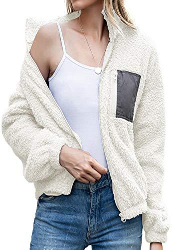 Damenmantel mit Revers, Reißverschluss, flauschig, Fleece, Zotteljacke, Kunstfellimitat, Outwear, Overcoat Cardigan mit Taschen Gr. 36, weiß