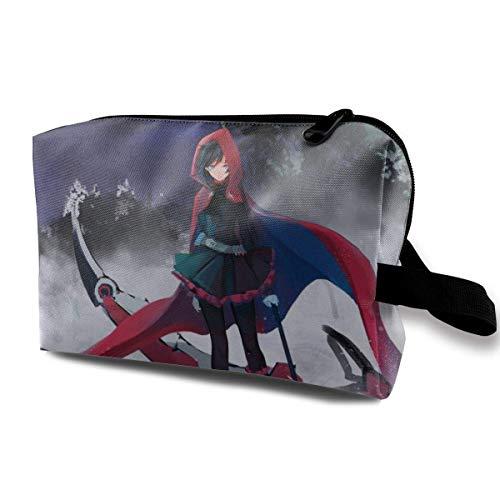 RWBY - Bolsa de maquillaje de viaje con muñequera para cosméticos, bolsa de aseo portátil con cremallera para niñas y mujeres