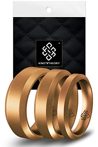 Knot Theory Antique Gold Bevel Comfort Fit Silicone Ring for Men and Women...