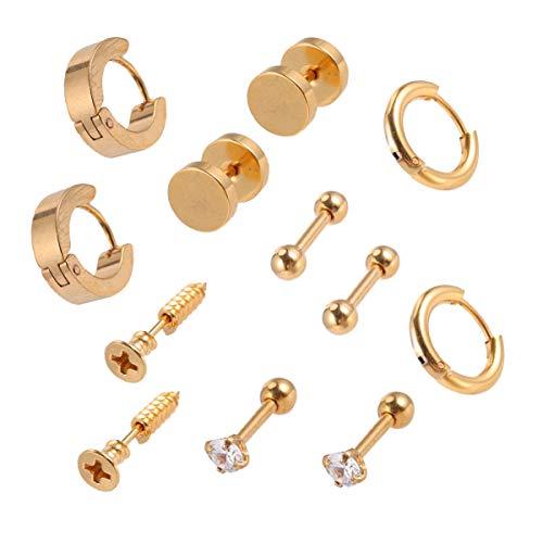 KESYOO 6 pares de brincos de aço inoxidável punk unissex piercing piercing de orelha, acessório para festa, uso diário (preto) Amarelo