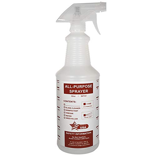 32 oz All-Purpose Spray Bottles - Natural HDPE Plastic w/Trigger Sprayer - Commercial Grade, Industrial or Home Use for Cleaning, Chemicals, Garden - Made in USA (1 Pack, Red)