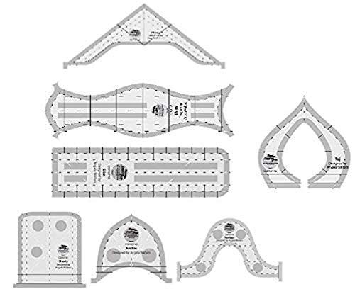 Creative Grids Herramientas de acolchado para máquina - Taj, Elvira, Chevy, Squiggy, Shorty, Slim, Archie