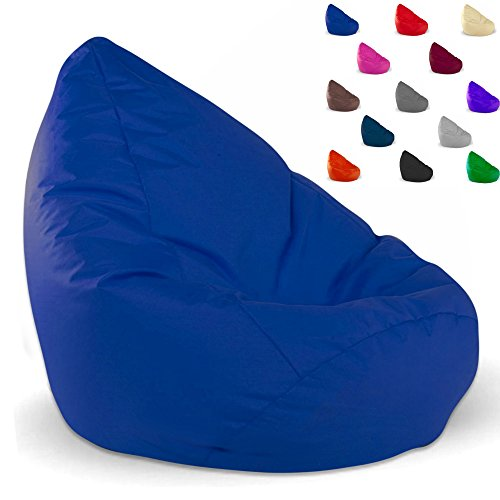 Sitzsack Avangartex24 Styropor Füllung für Kinder und Erwachsene - In & Outdoor - Bean Bag Sitzkissen Sessel Bodenkissen (XXL - ca. 77-80 cm Durchmesser, Blau)