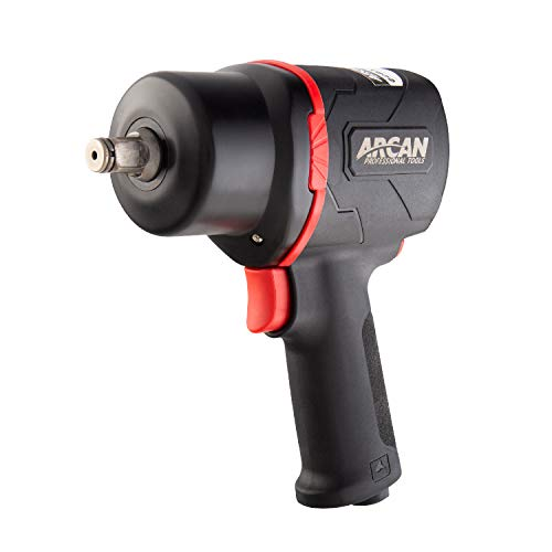 "Arcan 1/2"" Lightweight Pneumatic Push Button Air Impact Wrench, 1300 ft/lbs of High Torque, Twin Hammer, Composite, with Variable Speed Trigger (A41311)"