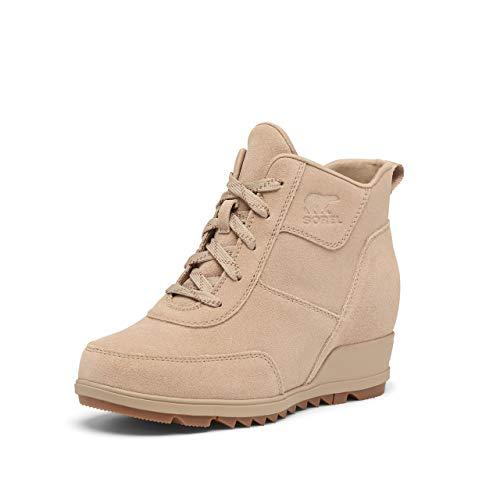 SOREL Women's Evie Sport Lace Rain Boot — Sandy Tan — Waterproof Suede & Leather — Wedge Ankle Sneaker — Booties — Size 8