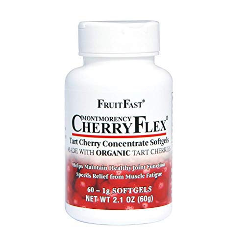 CherryFlex by FruitFast - 100% Red Tart Organic Cherry Concentrate Supplement - 60 Count - Non-GMO and Gluten Free - Promotes Healthy Joint Function