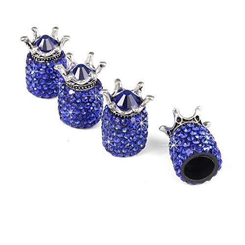 DishyKooker XuBa 4 Teile/Satz Crown Kristall Auto Reifen Ventilkappen Diebstahlsichere Ventilkappen Auto Rad Reifen Ventile Reifen Luftkappen Luftdichte Abdeckung Dark Blue
