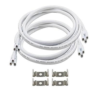 SinLoon T5 T8 LED Lamp Connecting Wire Ceiling Lights Daylight LED Integrated Tube Cable Linkable Cords for LED Tube Lamp Holder Socket Fittings with Cables(6.5FT/2M,2-Pack)