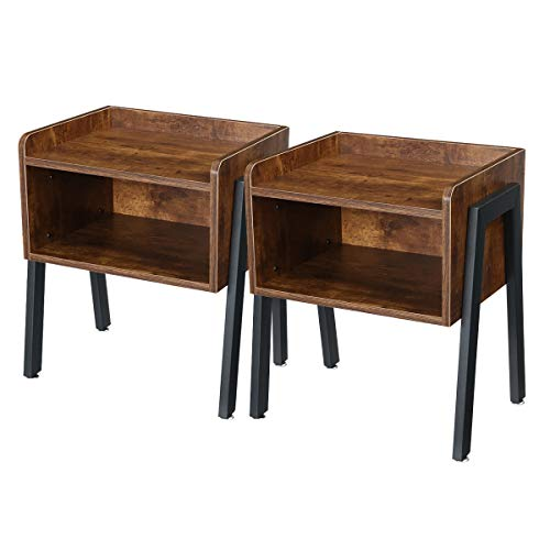 Kingso Nightstands Bedroom Set of 2 Stackable Bedside Table End Table Side Table Record Player Stand for Living Room Night Stand for Small Space with Storage, Stable Metal Frame, Rustic Brow
