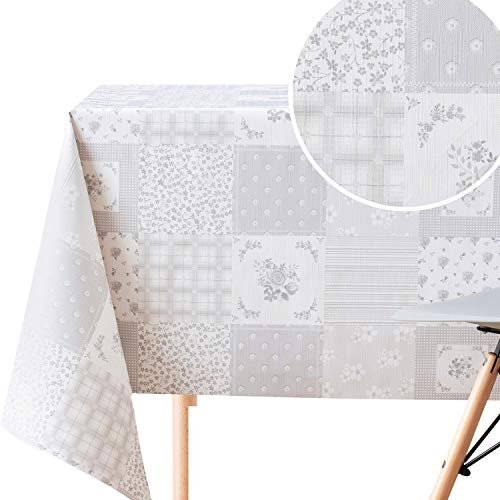 Abwischbare Grau Tischdecke mit Floralem Patchwork-Muster Steppdecke | 200 x 140 cm rechteckige Tische zu 6 Sitzplätze, Schweres Wasserdichtes Wachstuch PVC-Tischdecke Wachstuchtischdecke in Hellgrau