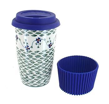 Blue Rose Polish Pottery Sage Floral Travel Coffee Mug