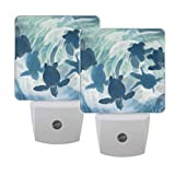Naanle Set of 2 Sea Turtle in Blue Water Baby Turtles Animal Swimming in Ocean Sea Life Auto Sensor LED Dusk to Dawn Night Light Plug in Indoor for Adults