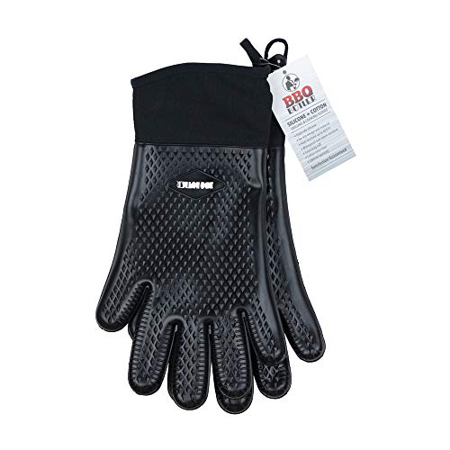 BBQ Butler Heat Resistant Oven Gloves - Silicone Oven Mitts - Heat Resistant Gloves - Baking Gloves - Grilling Gloves - Hot Mitts - Cotton-Lined for Comfort