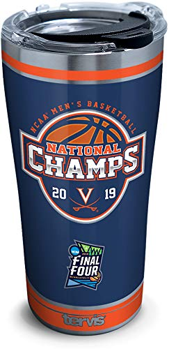 Tervis Virginia Cavaliers 2019 NCAA Basketball Champions Insulated Travel Tumbler & Lid, 20 oz - Stainless Steel, Silver