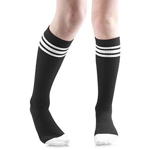 Baby, Toddler & Kids Knee High Tube Socks For Boys & Girls With Grips (6-10 Years (Size 1-4), Black/White)