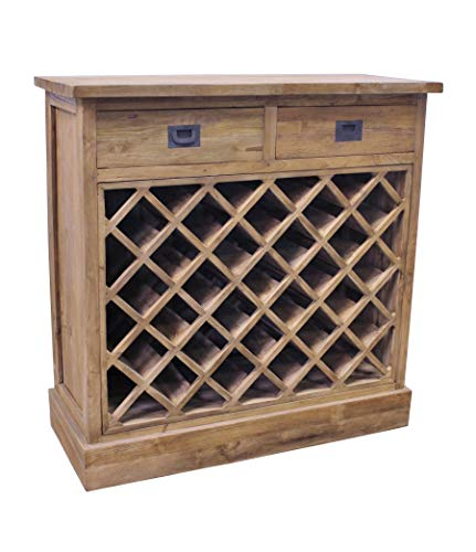 Vollwaren Teak WEINSCHRANK SE59-2 Teakholz massiv antik Weinregal Weinkommode Wein