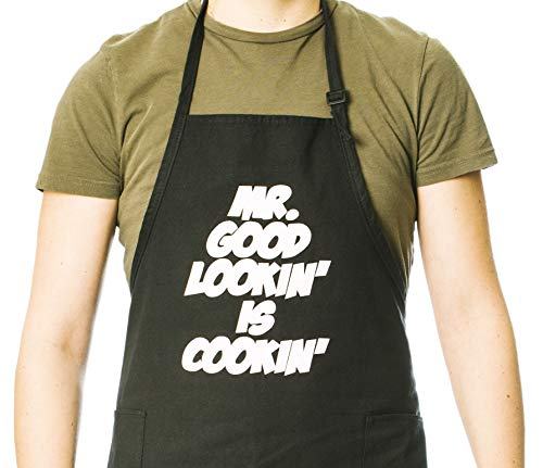 Funny Guy Mugs Mr. Good Lookin' Is Cookin' Adjustable Apron with Pockets - Funny Apron - Perfect for BBQ Grilling Barbecue