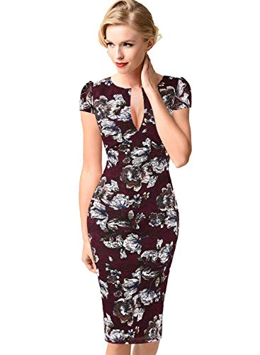 VFSHOW Womens Red Floral Lace Print Deep V Neck Dark Cocktail Party Night Out Bodycon Pencil Sheath Dress 1906 FLW XXL