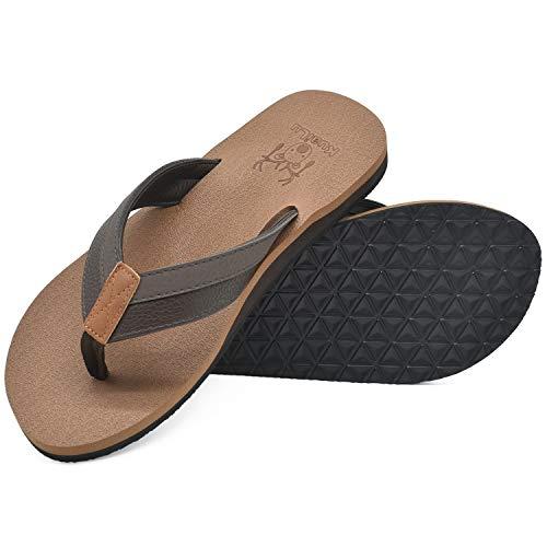 KuaiLu Flip Flops Herren Flach Weich Leder Bade Sandalen Comfy Breite Füße Badelatschen Yoga Schaum Sommer Strand Zehentrenner,Khaki,48 EU