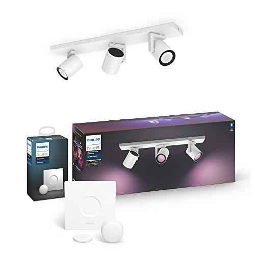 Philips Hue White & Col. Amb. LED 3-er Spot Argenta inkl. Hue Smart Button, weiß, dimmbar, 16 Mio. Farben, steuerbar via App, kompatibel mit Amazon Alexa (Echo, Echo Dot)