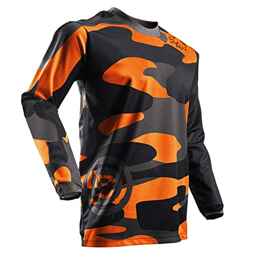 Men's Off-Road Motorcycle Jersey Mountain Bike Shirt Long Sleeve Breathable and Moisture-Wicking