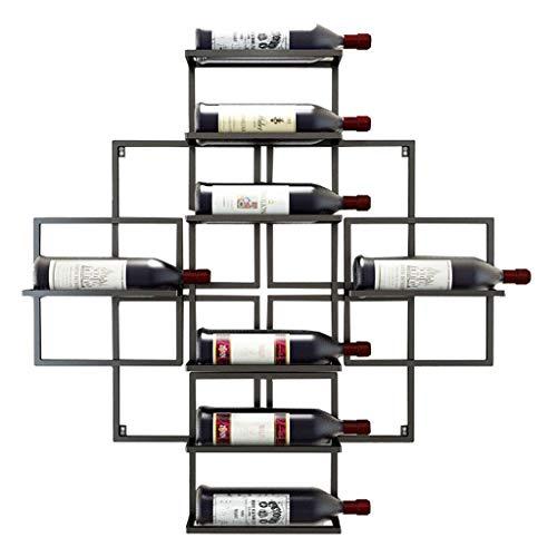 An der Wand montierte Weinregale zum Aufhängen von Weinflaschen aus Metall Weinregal aus Eisen - für 8 Weinflaschen - 3 Farben erhältlich Available 80x10x80cm Weinglasregal (Farbe: SCHWARZ)