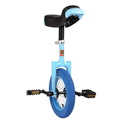 Monociclos Azul Rueda de 12 Pulgadas Niños Niños Llanta de Aleación, Bicicletas de Ciclismo de Equilibrio, Hijos/Nietos Regalos de Cumpleanos, Asiento Ajustable