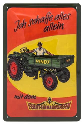 FENDT Einmannsystem, Traktor - hochwertig geprägtes Blechschild, Türschild, Wandschild, Garagenschild, Werkstatt Deko, Retro Werbeschild, 30 x 20 cm