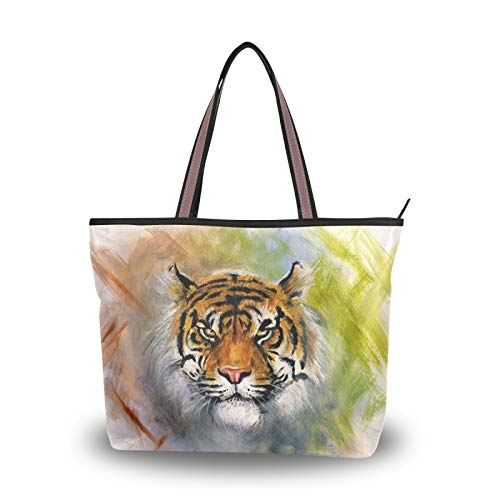 RULYY Large Tote Bags Watercolor Animal Tiger Women Handbags with Zipper Ladies Girls Shoulder Bag for School,Work,Shopping,Travel