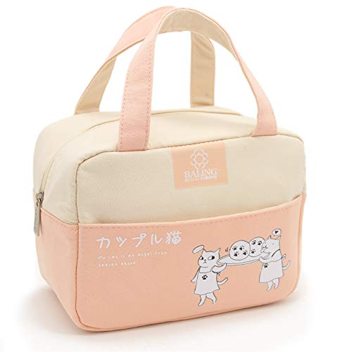 Stylish Bento Lunch Carry Bags - Thermal Cooler Lunch Tote Handbag with Pockets Durable Handles Fashionable Japanese Printing for Kids Teens Preschool High College School Student