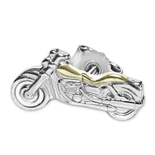 Clever Schmuck Silberner einzelner sehr kleiner Single Ohrstecker Mini Motorrad 8 x 4 mm teilvergoldet glänzend bicolor STERLING SILBER 925 (1 Stück)