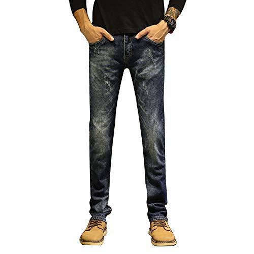Jeans Denim Stretch Fit Jeans Stonewashed, Fashion European und American Seasons Distressed Straight Denim Hose 34