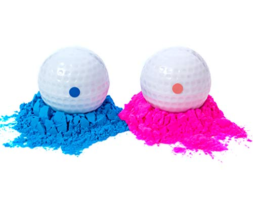 Winsharp Gender Reveal Golf Balls | One Pink, One Blue + Wooden Tee Included | Best Gift for Expecting Parents