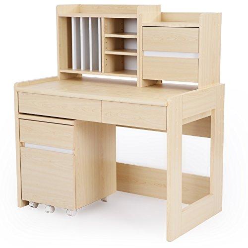 LOWYA学習机セット学習デスク上棚組換え木目調勉強机幅100cmナチュラル/ホワイト