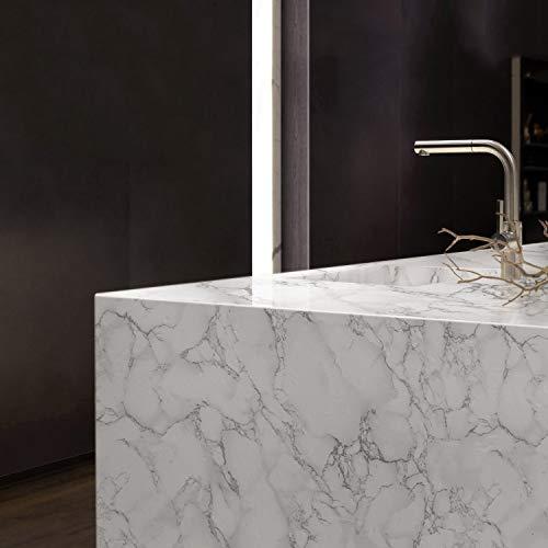 KINLO 0.61 * 5M Marmor klebefolie Selbstklebende Möbelaufkleber Aufkleber PVC Wasserdicht Marmorfolie für Möbel Tisch Dekofolie Möbelsticker Folie Tapete für Küchenschränke (Type D)