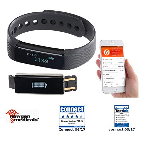 newgen medicals Uhr mit Vibrationsalarm: Fitness-Armband FBT-25, Bluetooth, Benachrichtigungen, OLED, IP67 (Activity Tracker)
