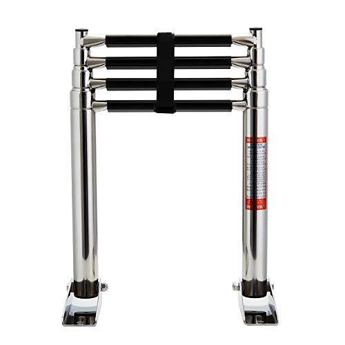 Manifish 4 Step Stainless Steel Telescoping Marine Boat Yacht Swimming Boarding Ladder Swim Step