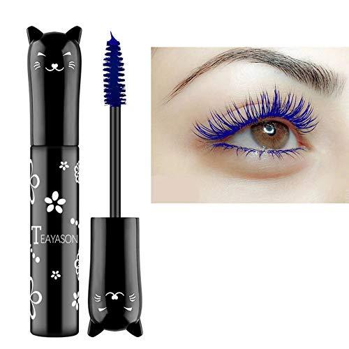 Cat eye mascara Eyes Makeup Color Mascara Waterproof Fast Dry Eyelashes Curling Lengthening Makeup Eye Lashes Party Stage Use (blue)