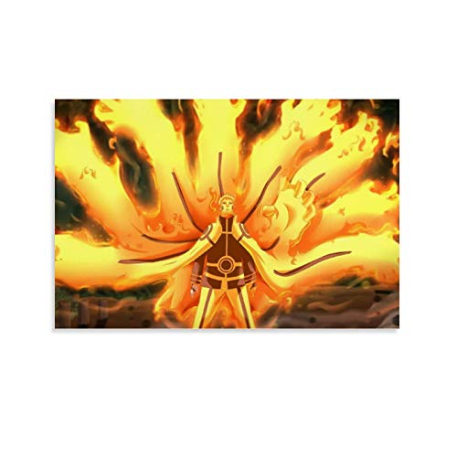 Naruto Nine Tailed Fox Ultimate Form Canvas Art Poster and Wall Art Picture Print Modern Family Bedroom Decor Posters 12x18inch(30x45cm)