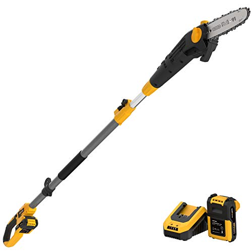 AchiForce 8-Inch Cordless Pole Saw, Electric Telescopic Pole Chain Saw with 2 Ah Battery Pack, Extension Pole Chainsaw for Branch Cutting and Tree Trimming