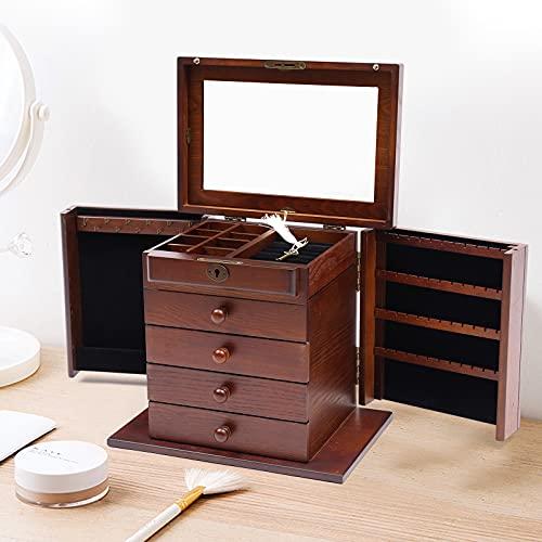 Caja de almacenamiento grande de madera para joyas, organizador de joyas, 5 capas, con 5 cajones para anillos, collares y relojes (marrón)